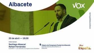 Llenazo total de Santiago Abascal en Albacete, donde defiende el Trasvase y el discurso nacional del agua