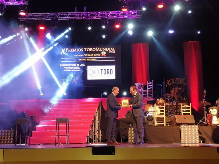 El presidente de la Diputación de Guadalajara, José Manuel Latre, entrega el Premio Medalla de Oro a la Fundación Toro de Lidia en la Gala Toromundial