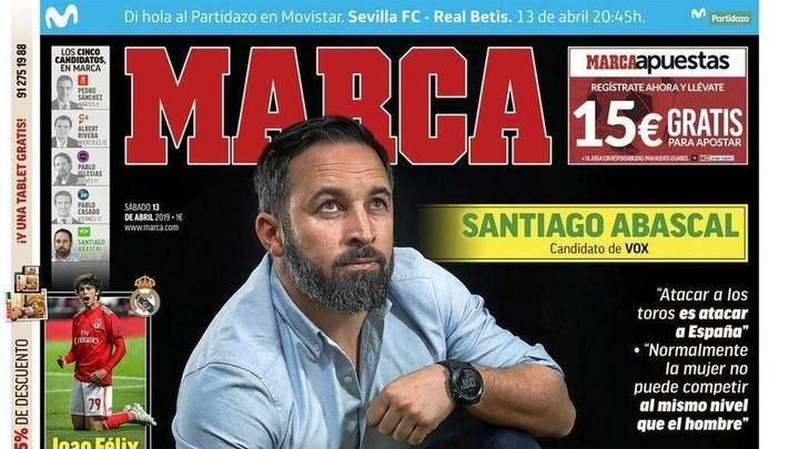 """Santiago Abascal en el Marca : """"Normalmente la mujer no puede competir al nivel del hombre en el deporte"""""""