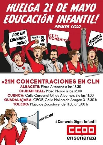 Casi 3.000 empleadas de guarderías privadas en CLM en huelga este martes en protesta por su convenio laboral