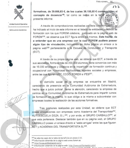 La Guardia Civil desvela que UGT y CCOO podrían estar usando una trama común para quedarse fondos de formación en Extremadura