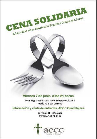 La AECC de Guadalajara convoca su cena solidaria para el próximo viernes 7 de junio