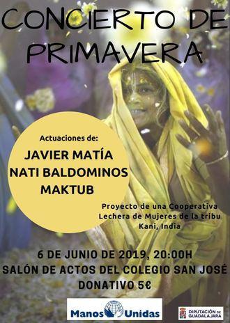 El jueves 6 de junio, concierto de primavera de Manos Unidas en Guadalajara