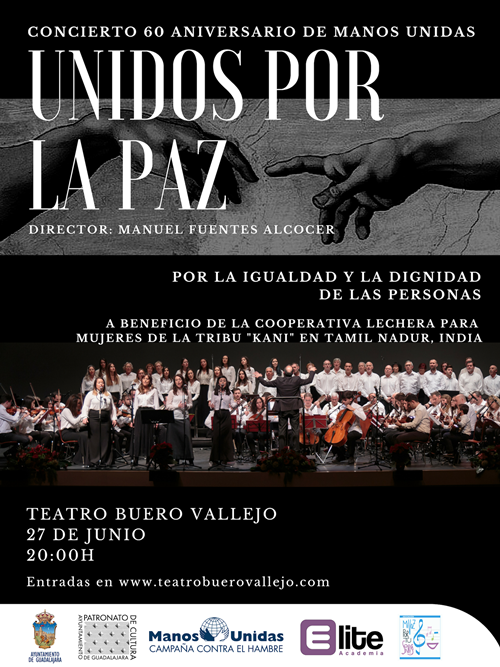 """Concierto """"Unidos por la Paz"""" en el Buero Vallejo de Guadalajara en el 60 aniversario de Manos Unidas"""