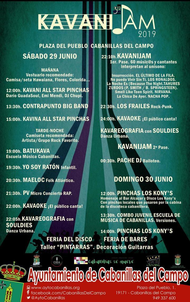 Cerrado el cartel del III KavaniJam, que llenará de música la Plaza del Pueblo los días 29 y 30 de junio en Cabanillas