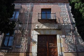 El Palacio de los Marqueses de Villamejor, o Palacio de La Cotilla, detalle monumental de julio en Guadalajara