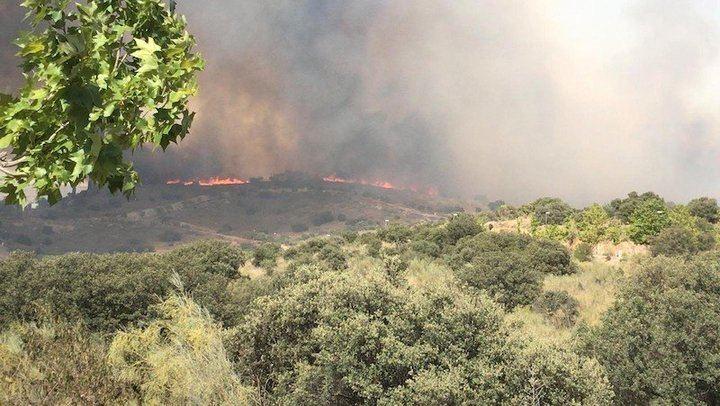Un incendio forestal en Toledo obliga a desalojar varias viviendas