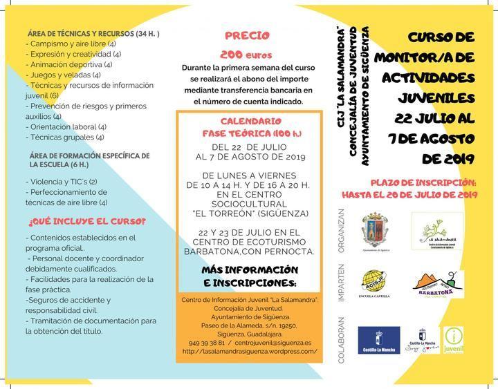 En julio y agosto, curso de monitor de actividades juveniles en Siguenza