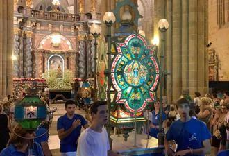 Una multitudinaria Procesión de los Faroles despide los actos religiosos de las fiestas de San Roque y la Virgen de la Mayor en Sigüenza