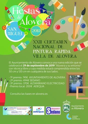 El Ayuntamiento de Alovera convoca el XXII Certamen Nacional de Pintura Rápida al aire libre 'Villa de Alovera' se celebrará el domingo 29 septiembre
