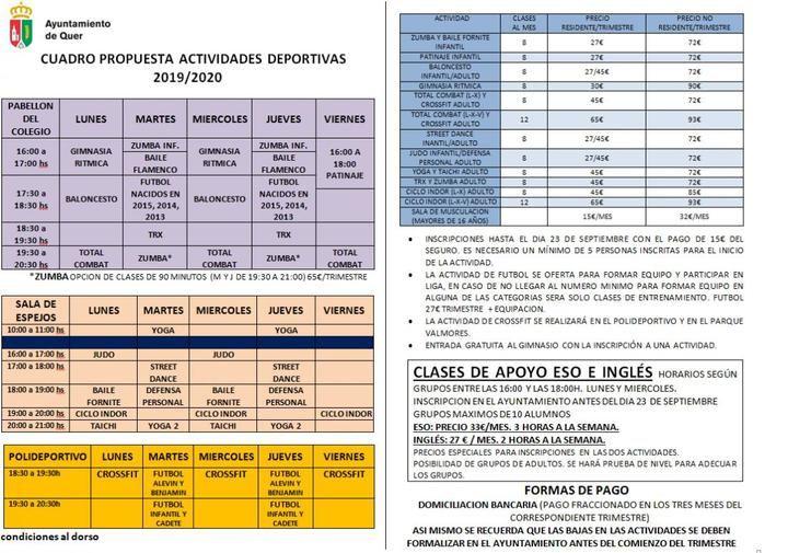 La temporada deportiva setera comenzará el próximo 1 de octubre