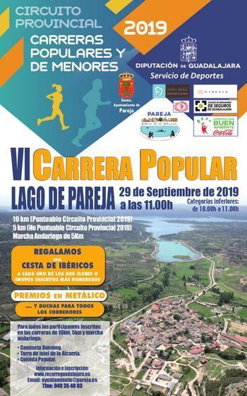 El domingo 29 se celebra la VI Carrera Popular Lago de Pareja, séptima prueba del Circuito Diputación de Guadalajara