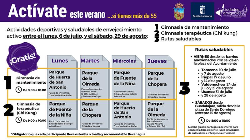 'Actívate en verano' para mayores de 55 en Guadalajara continúa en agosto con buena participación