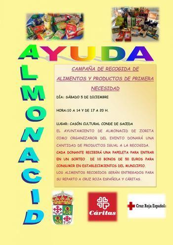El Ayuntamiento de Almonacid impulsa una campaña de recogida de alimentos y productos de primera necesidad