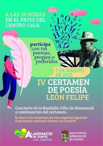 El 7 de agosto, IV Certamen de Poesía León Felipe en Almonacid de Zorita