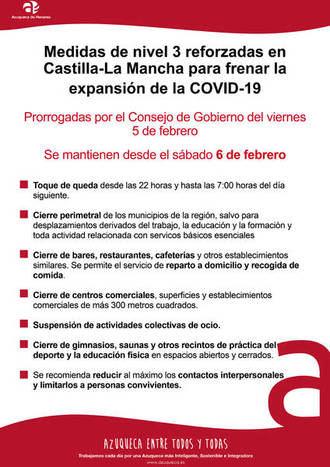 Siguen las medidas especiales NIVEL 3 REFORZADAS para tratar de frenar el Coronavirus también en Azuqueca