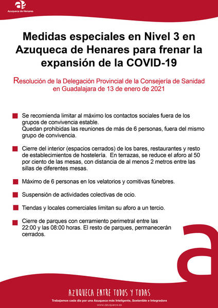ATENCIÓN, debido a la incidencia acumulada de contagios de coronavirus (414,2 casos/100.000 habitantes), Sanidad decreta MEDIDAS ESPECIALES nivel 3 para Azuqueca