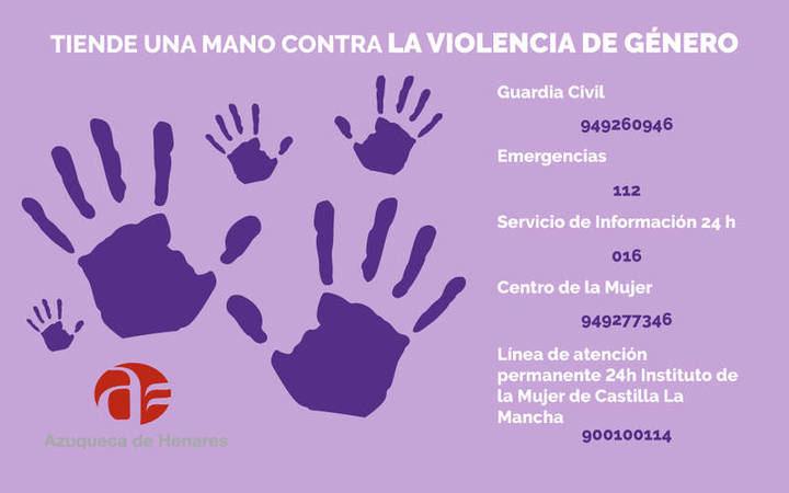 El Ayuntamiento de Azuqueca desarrolla la campaña 'Tiende una mano frente a la violencia de género'