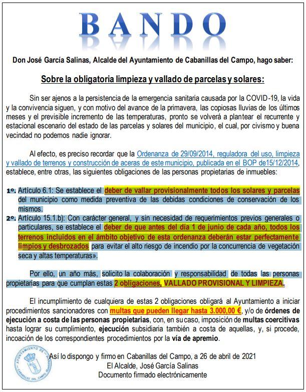 Bando de la Alcaldía de Cabanillas : Se recuerda la obligación de desbrozar y vallar parcelas particulares