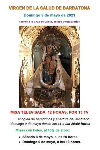 Este domingo, misa televisada desde el Santuario de la Salud de Barbatona