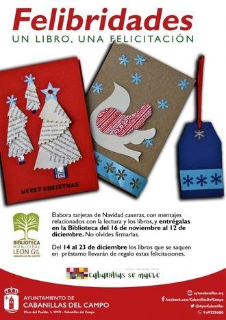 """La Biblioteca de Cabanillas lanza la iniciativa """"Felibridades"""", para prestar libros con felicitaciones caseras en los días previos a Navidad"""