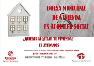 La bolsa de alquiler social impulsada por el Ayuntamiento de Azuqueca, con ayuda de Cáritas, pone en el mercado viviendas desocupadas