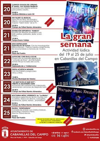 Del 19 al 25 de julio, semana de grandes espectáculos en el programa sociocultural del verano en Cabanillas