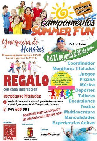 Abiertas las inscripciones para los Campamentos 'Summer Fun' de Yunquera de Henares
