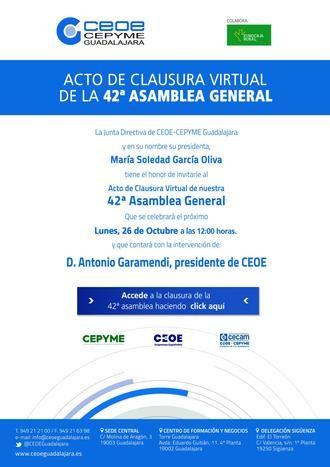 CEOE-CEPYME Guadalajara celebra su 42 Asamblea General, de manera virtual, el próximo lunes 26 de octubre