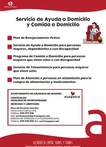 El Ayuntamiento de Azuqueca mantiene abierta la solicitud en el programa 'Comida a domicilio' para personas mayores o con discapacidad