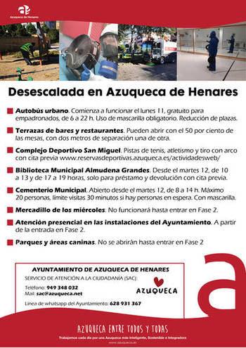 El Ayuntamiento de Azuqueca aplaza a la fase 2 la apertura de parques y áreas caninas y la celebración del mercadillo semanal