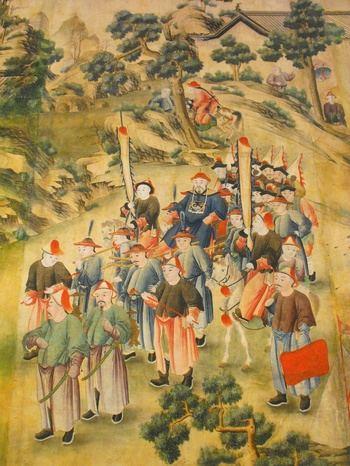 El simbolismo en la indumentaria china de la dinastía Qing, reflejada en la decoración del Palacio de la Cotilla, detalle monumental de abril