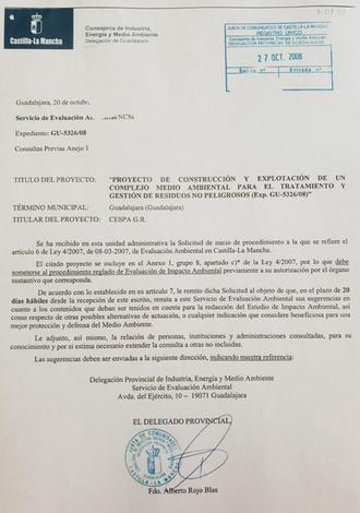 Román demuestra con documentos que Alberto Rojo inició el proyecto de vertedero industrial siendo delegado de Medio Ambiente en 2008