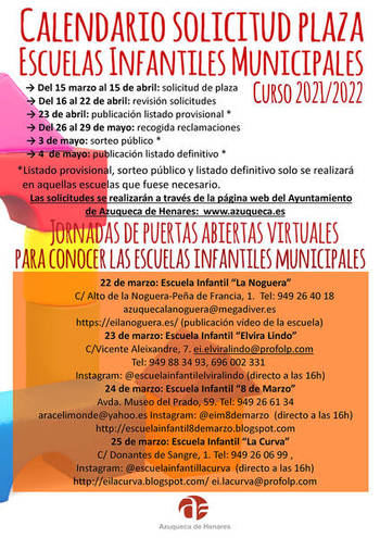 La solicitud de plaza en las escuelas infantiles municipales de Azuqueca se podrá hacer del 15 de marzo al 15 de abril