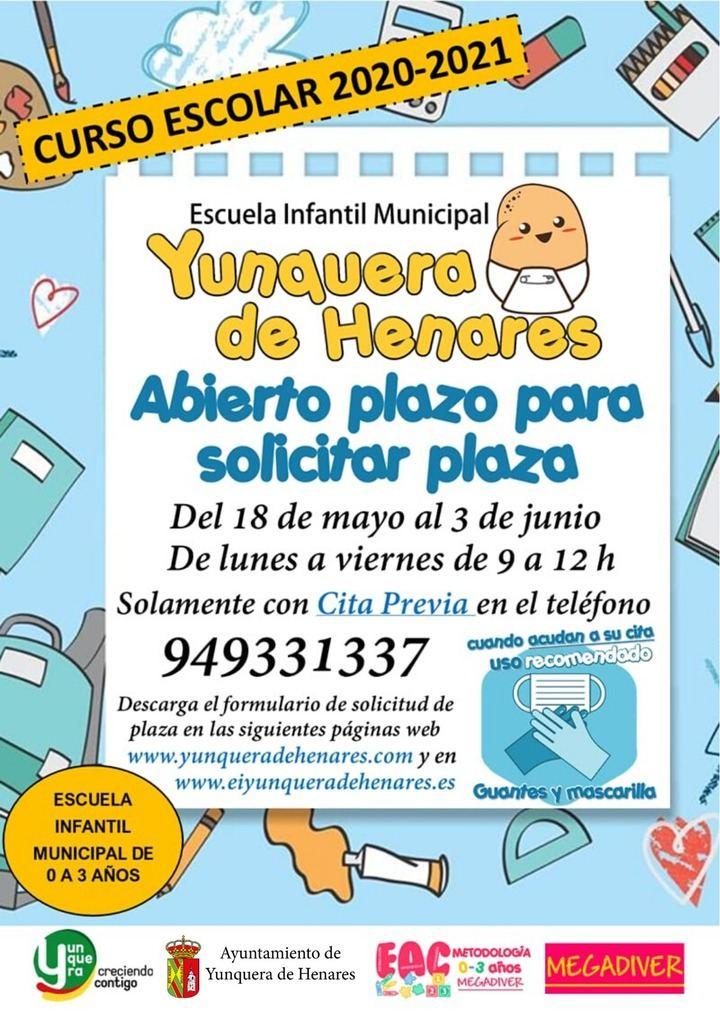 La Escuela Infantil Municipal de Yunquera de Henares abre su periodo de inscripción para el próximo curso
