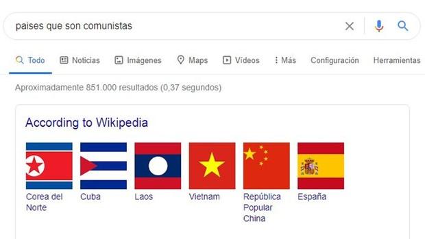 Google incluye a España en la lista de países..comunistas