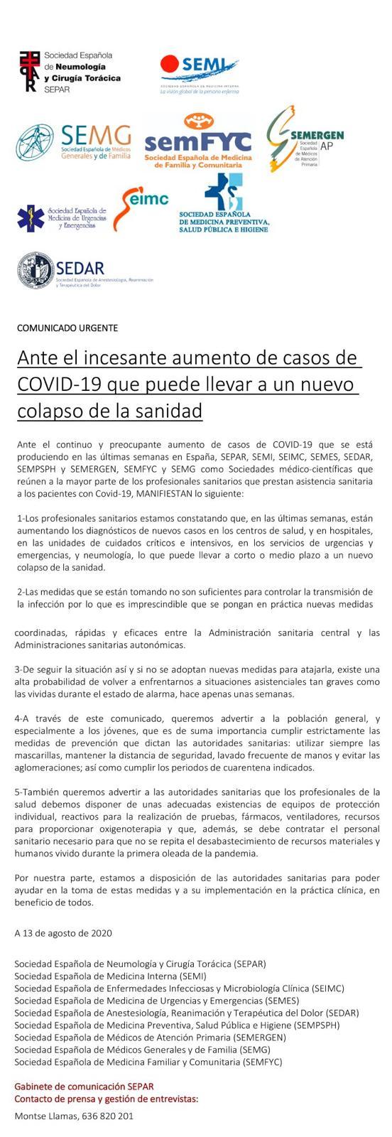 """AVISO : Los médicos y expertos (HARTOS) alertan de la alta probabilidad de un nuevo COLAPSO sanitario por el coronavirus, las medidas que se están tomando """"no son suficientes"""""""