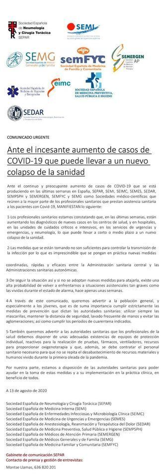AVISO : Los médicos y expertos (HARTOS) alertan de la alta probabilidad de un nuevo COLAPSO sanitario por el coronavirus, las medidas que se están tomando