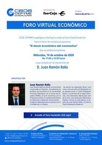 Juan Ramón Rallo, protagonista de un nuevo Foro Empresarial de CEOE-CEPYME Guadalajara