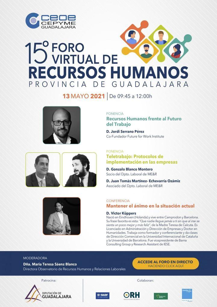 El 15º Foro de Recursos Humanos de la provincia de Guadalajara tendrá lugar el 13 de mayo...de forma virtual