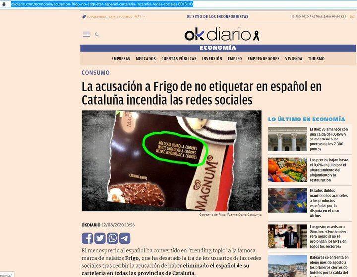 Frigo (Unilever España) elimina el IDIOMA ESPAÑOL de sus carteles de helados en Cataluña