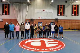 Tradicional homenaje del Ayuntamiento y la UD Azuqueca Fútbol Sala a Kako, Diego y Emilio