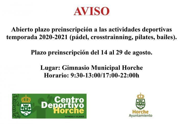 Abierta la preinscripción para las actividades deportivas de la temporada 2020-21 organizadas por el Ayuntamiento de Horche