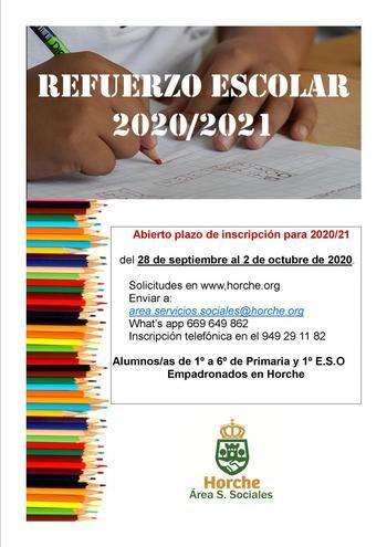 Abierto el plazo de inscripción de la actividad Refuerzo Escolar 2020-2021 en Horche
