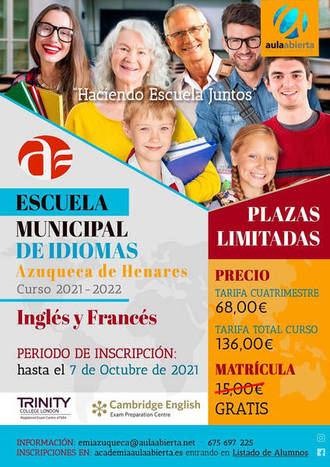 La matriculación en la Escuela Municipal de Idiomas de Azuqueca (EMIA) para este curso está abierta hasta el 7 de octubre