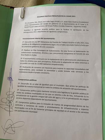 Unidas Podemos Izquierda Unida en el municipio de El Casar llega a un acuerdo con el equipo de gobierno para facilitar la aprobación de los presupuestos