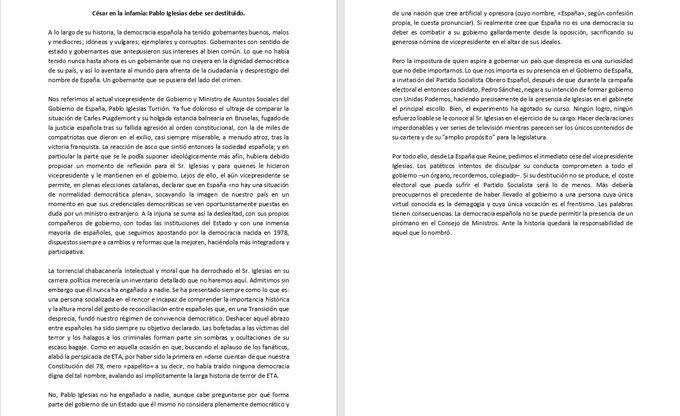 Un manifiesto firmado por socialistas e intelectuales reclama el cese de Paglo Iglesias