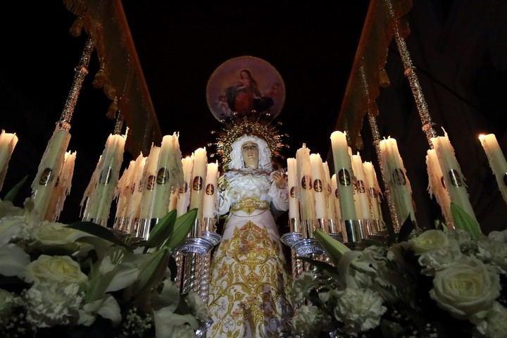 Lunes Santo, Procesión por las calles de Guadalajara de la Cofradía de Nuestro Padre Jesús Nazareno con la Imagen de María Santísima de la Misericordia. Foto : EDUARDO BONILLA (Archivo)