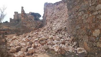 Se hunde parte de la muralla medieval de Belmonte tras el último temporal