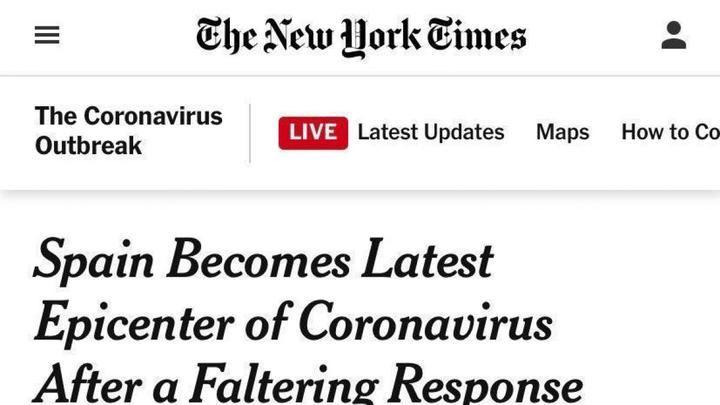 El 'New York Times' denuncia que la irresponsabilidad del socialista Pedro Sánchez disparó el número de casos de coronavirus al permitir la manifestación del 8M